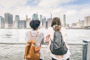 Women looking at skyline